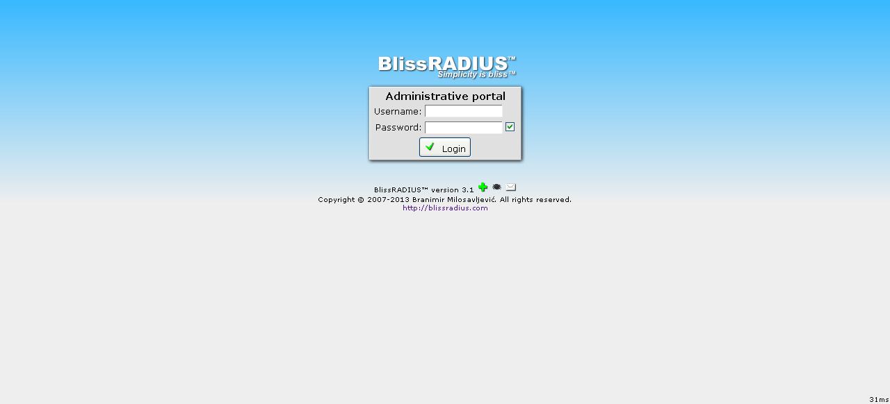 Full BlissRADIUS screenshot